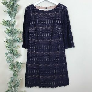 Eliza J Navy Lace 3/4 Sleeve Dress Size 6